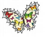 Ripped Torn Metal Butterfly Design With Cream Butterflies Pattern Motif External Vinyl Car Sticker 125x90mm